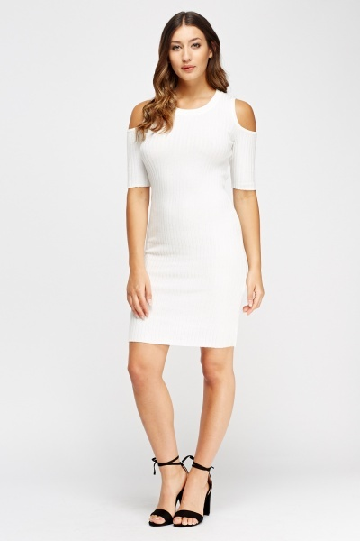 Cold Shoulder Ribbed Dress