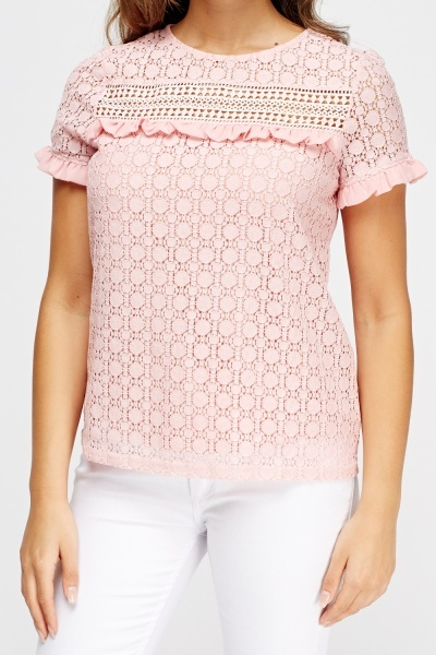 Crochet Pink Frilled Top