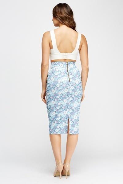 floral print pencil midi skirt multi blue just 163 5