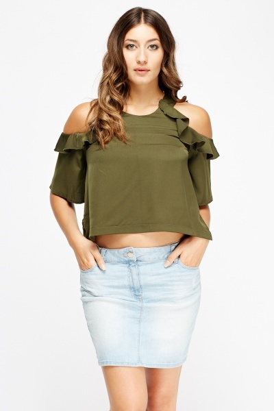 Frilled Sleeve Casual Top