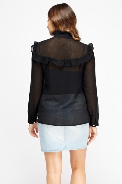 Frilled Trim Sheer Shirt