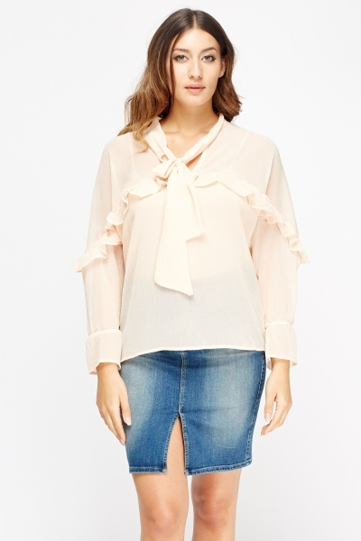 Frilled Trim Tie Neck Blouse