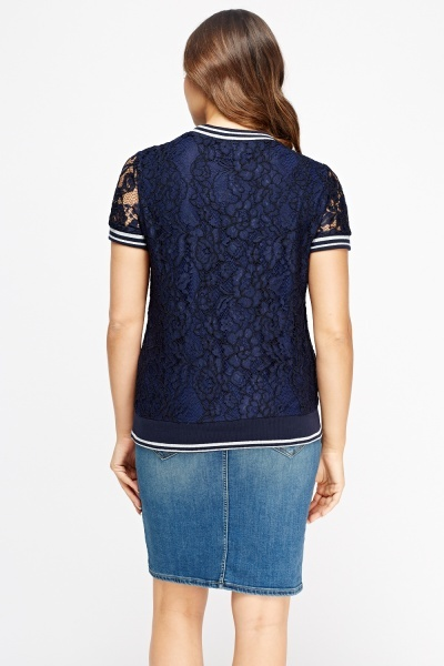 Lace Overlay Mixed Applique Top