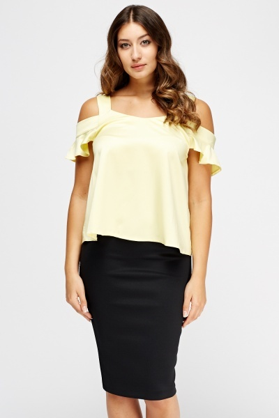Sateen Cold Shoulder Top