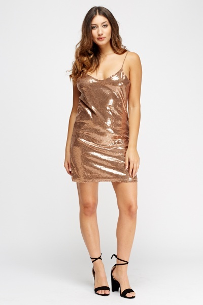 Sequin Slip On Mini Dress
