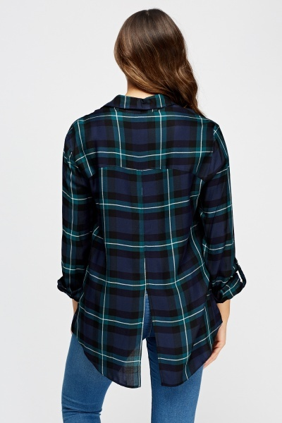 Slit Back Checked Shirt