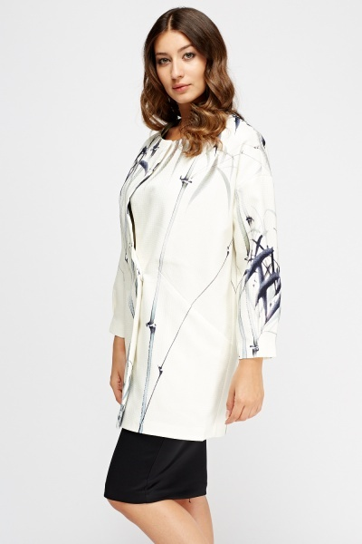 Textured Long Line Cream Jacket
