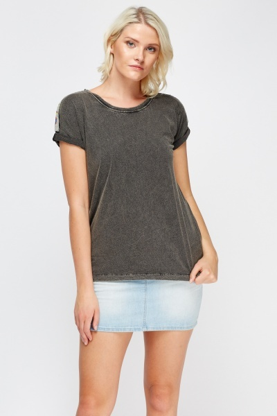 Beaded Shoulder T-Shirt
