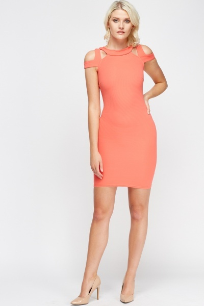Cut Out Coral Bodycon Dress