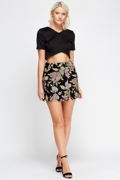 Embroidered Print Skirt