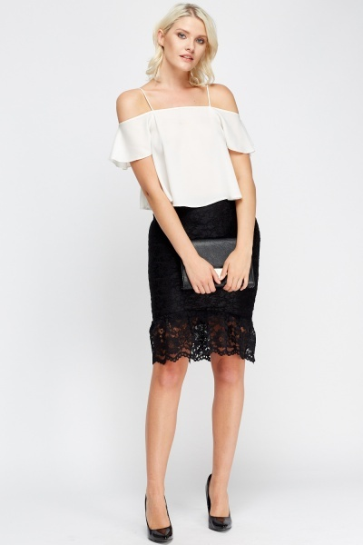 Lace Flared Hem Midi Skirt