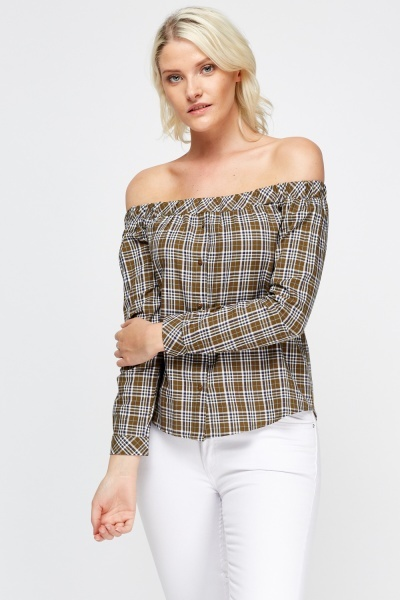 Off Shoulder Checked Top