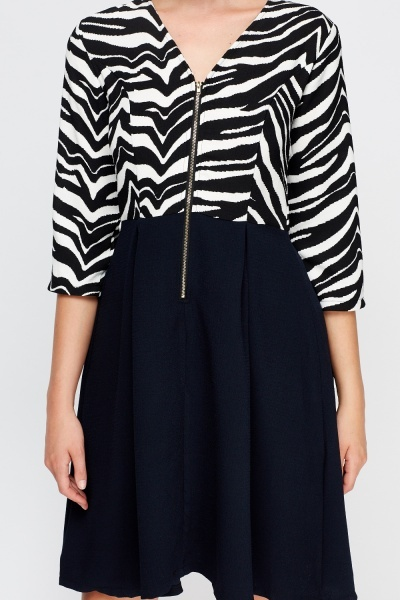 Zebra Print Bodice Swing Dress