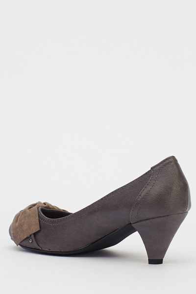 Bow Front Grey Kitten Heels