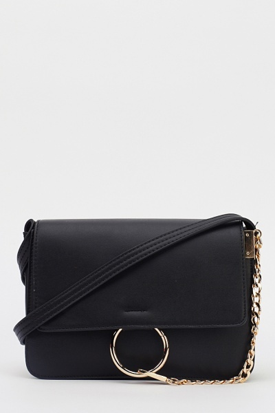 Image of Chain Detail Faux Leather Shoulder Bag