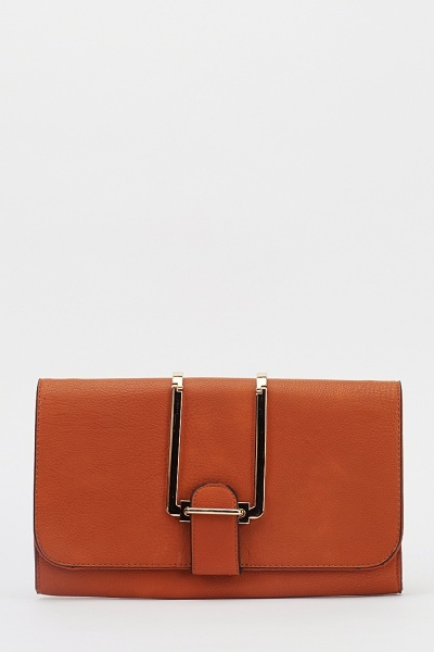 Detailed Flap Faux Leather Clutch Bag