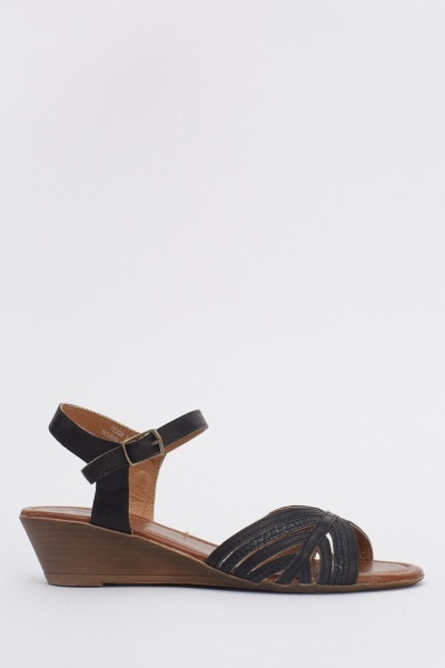 Low Wedge Faux Leather Sandals