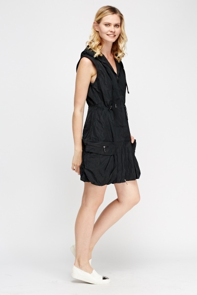 Hooded Zip Sleeveless Dress
