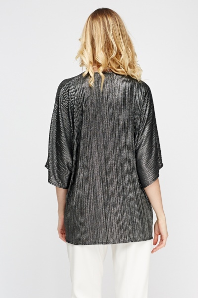 Metallic Insert Pleated Cardigan