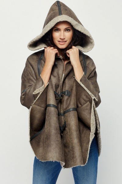 I Love To Love Fur Hooded Poncho
