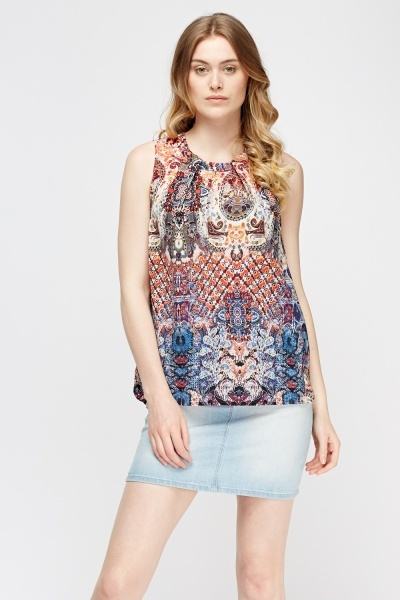 Mixed Print Sleeveless Top