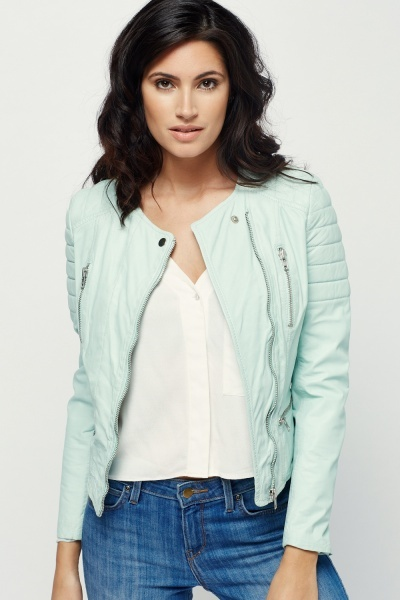 Muubaa Tagus Mint Leather Biker Jacket