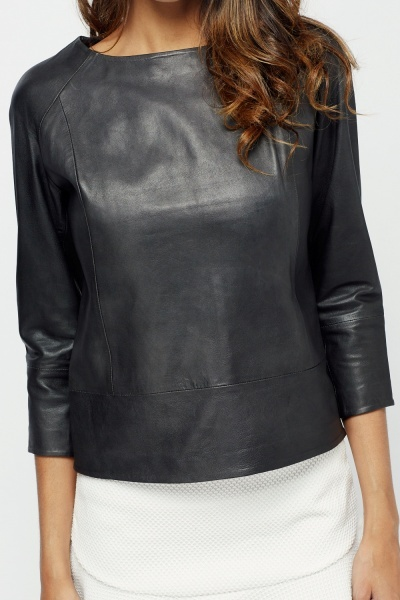 Muubaa Galewela Black Leather Top
