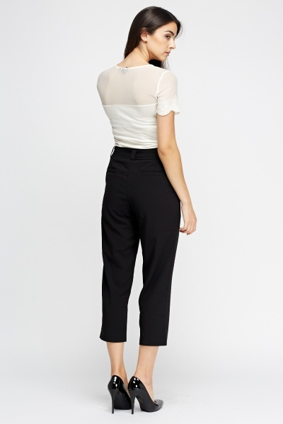 Straight Leg Cropped Trousers