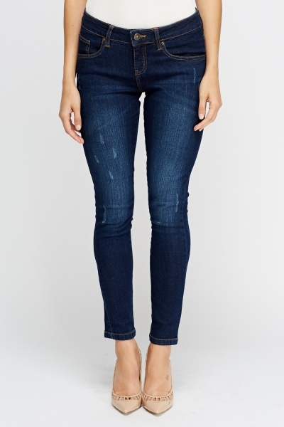 Straight Leg Dark Blue Jeans