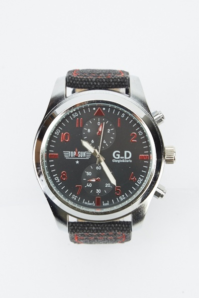 Image of Contrast Textured Strap Watch
