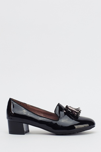 Metallic Front Tassel PVC Loafers