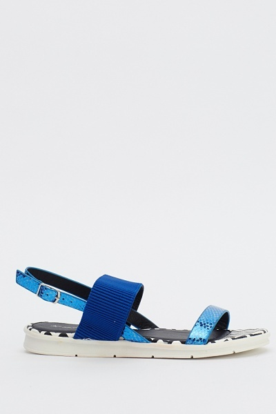 Ribbed Contrast Mock Croc Sandals