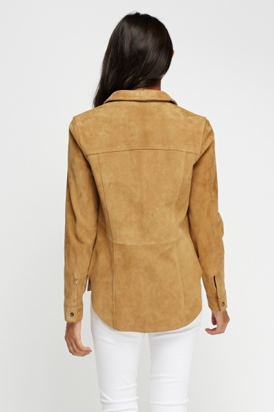 Suede Button Shirt Jacket