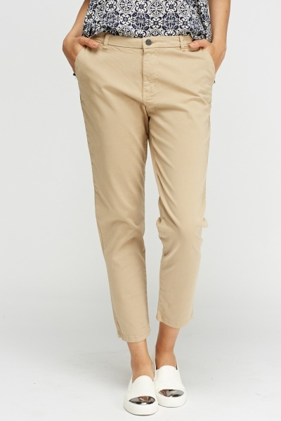 Beige Casual Chino Trousers