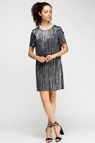 Image of Metallic Pleated Shift Dress