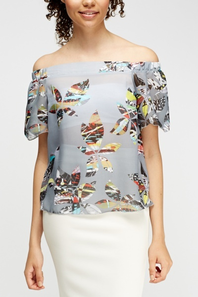 Printed Off Shoulder Top