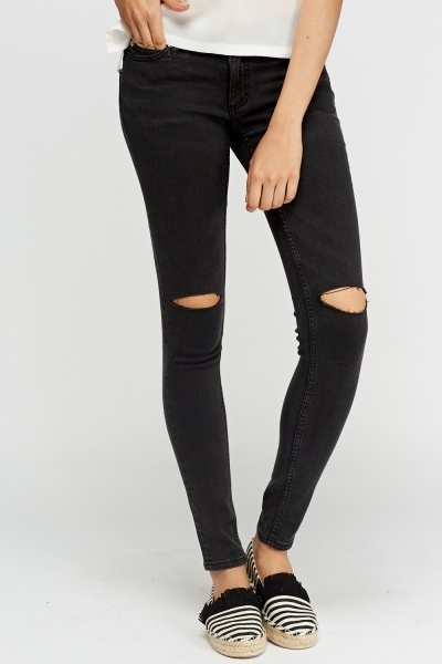 Ripped Charcoal Skinny Fit Jeans