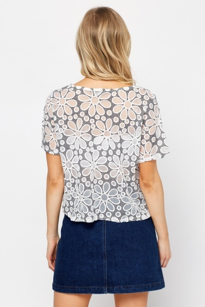 Mesh Overlay Floral Box Top