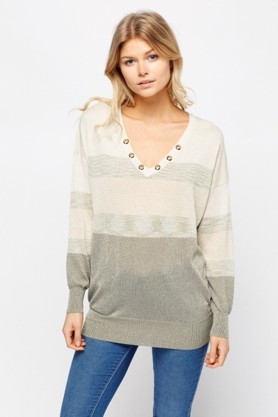 Metallic Insert Detailed Neck Jumper