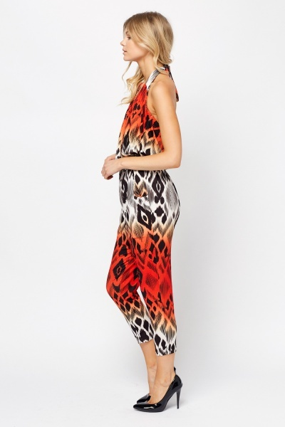 Mixed Print Loose Jumpsuit