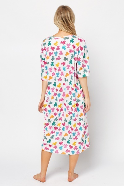 Multi Bear Print Night Dress
