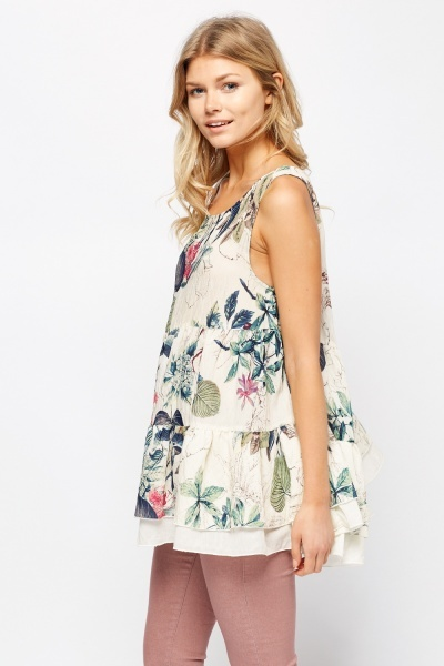 Overlay Printed Sleeveless Tent Top