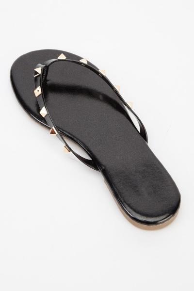 Studded Black Flip Flops - Just 3-9833