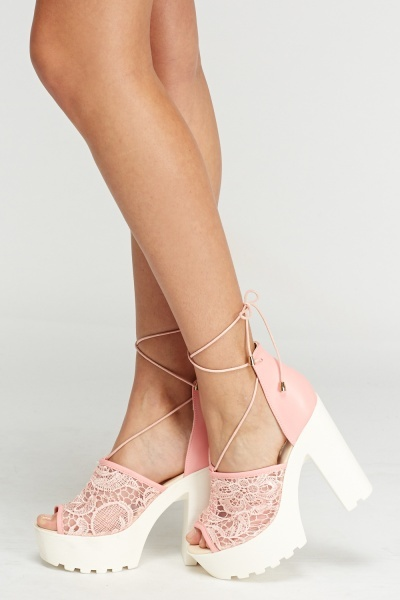 Mesh Insert Tie Up Blocked Sandal Heels