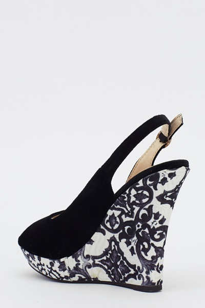 Printed Wedge Sling Back Heels