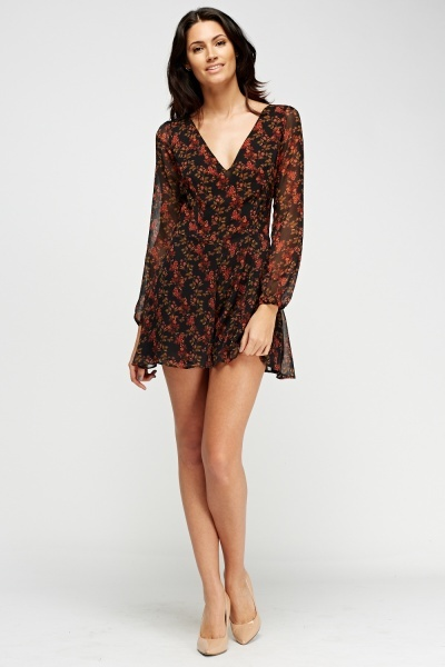 Floral Sheer Flare Playsuit