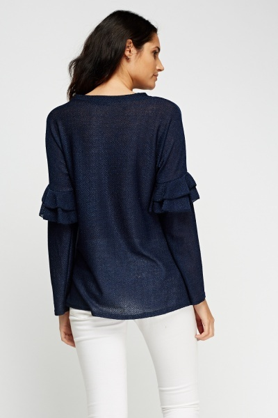 Metallic Insert Flared Sleeve Top