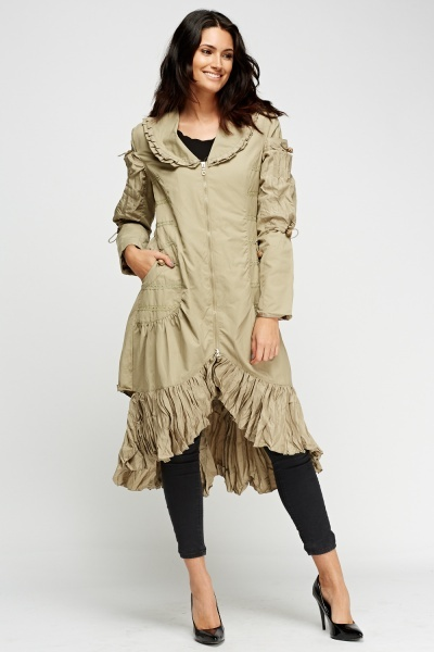 Ruffled Hem Contrast Long Jacket