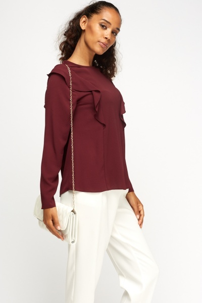 Flare Sleeve Plum Blouson Top