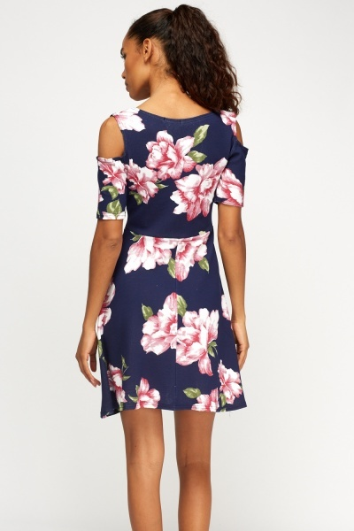 Floral Navy Cold Shoulder Shift Dress